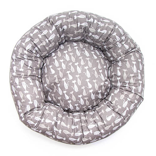 Silhouette Grey Cats Cotton Round bed