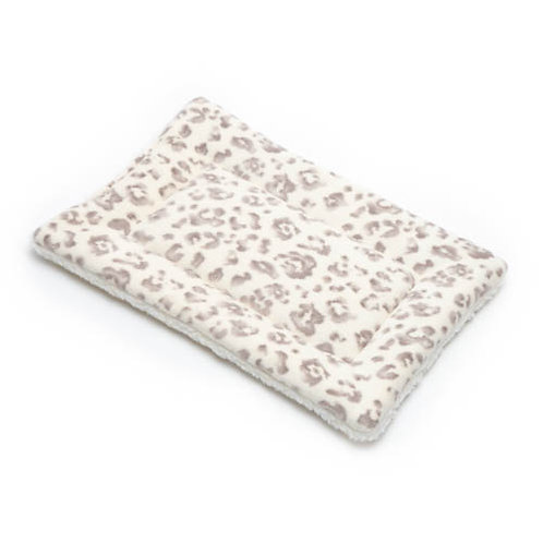 Cream Leopard Printed Fleece Fabric - Quilted Crate Pad