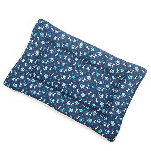 Blue Paws Printed Cotton Fabric - Quilted Crate Pad