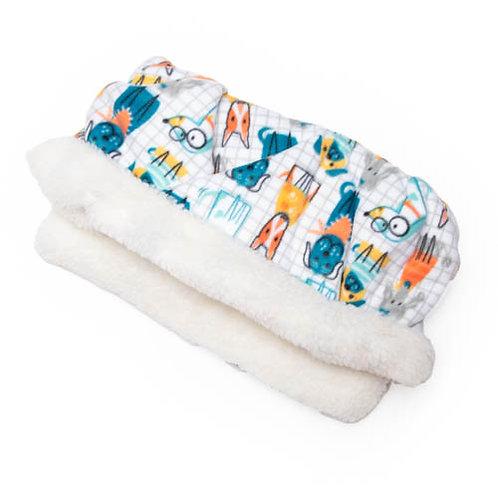 Dogs on Grid Fleece Fabric Pocket Bed