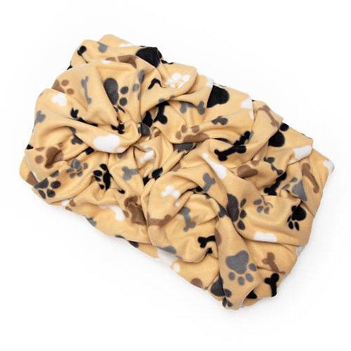 Tan Bones and Paws Fleece Blanket Bed