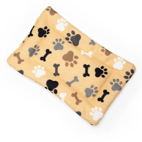 Tan Bone and Paw Fleece Fabric - Quilted Crate Pad