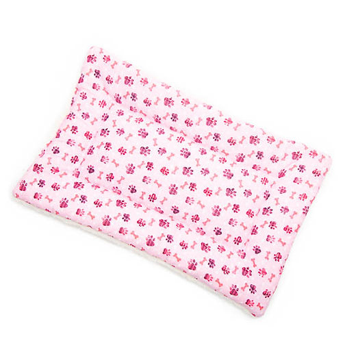 Pink Paws Printed Cotton Fabric -Quilted Crate Pad
