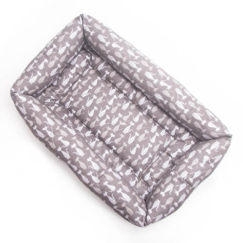 Silhouette Grey Cats Cotton Bumper Bed