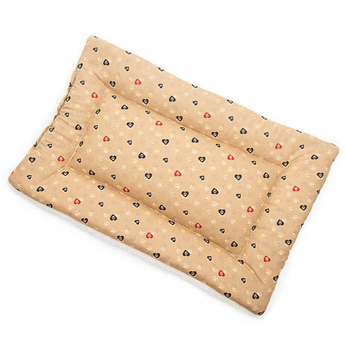 Caramel Paws in Hearts Printed Cotton Fabric - Quilted Crate Pad