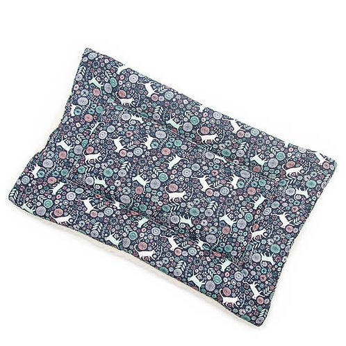 Navy Cats in Garden Printed Cotton Fabric - Quilted Crate Pad