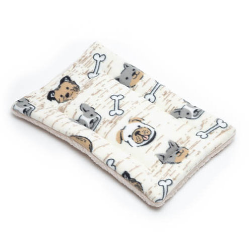 Dog Faces Printed Fleece Fabric - Quilted Crate Pad