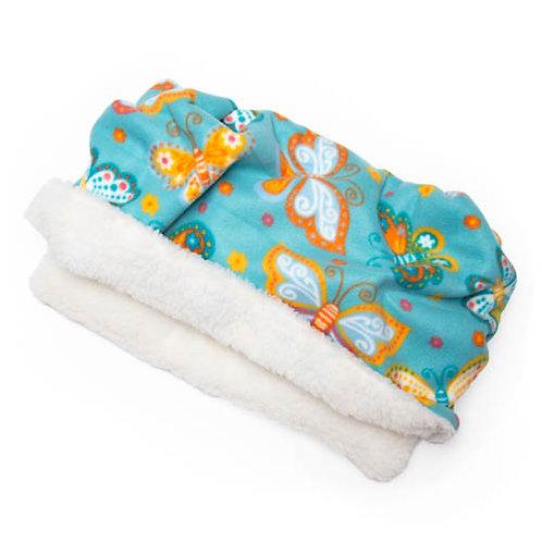Butterflies on Teal Fleece Fabric Pocket Bed