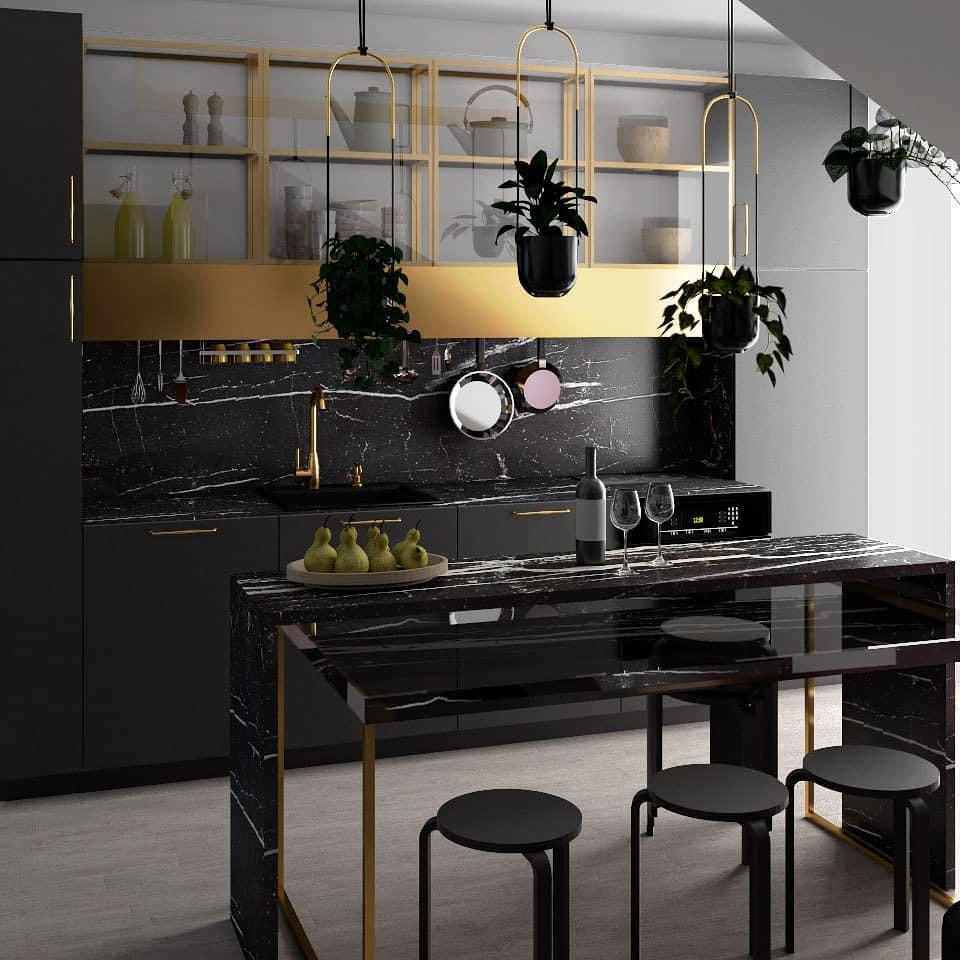 Ciemna kuchnia ze złotym akcentem