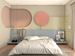 Przytulna pastelowa sypialnia.