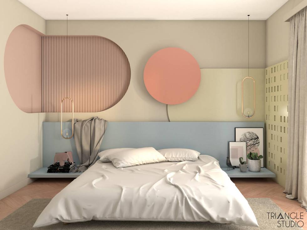 Przytulna pastelowa sypialnia