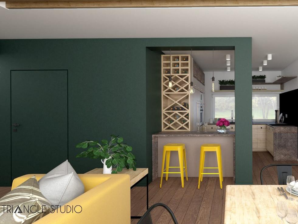 Wnętrze domu w kontrastowej kolorystyce