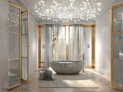 Bogato zdobiona łazienka