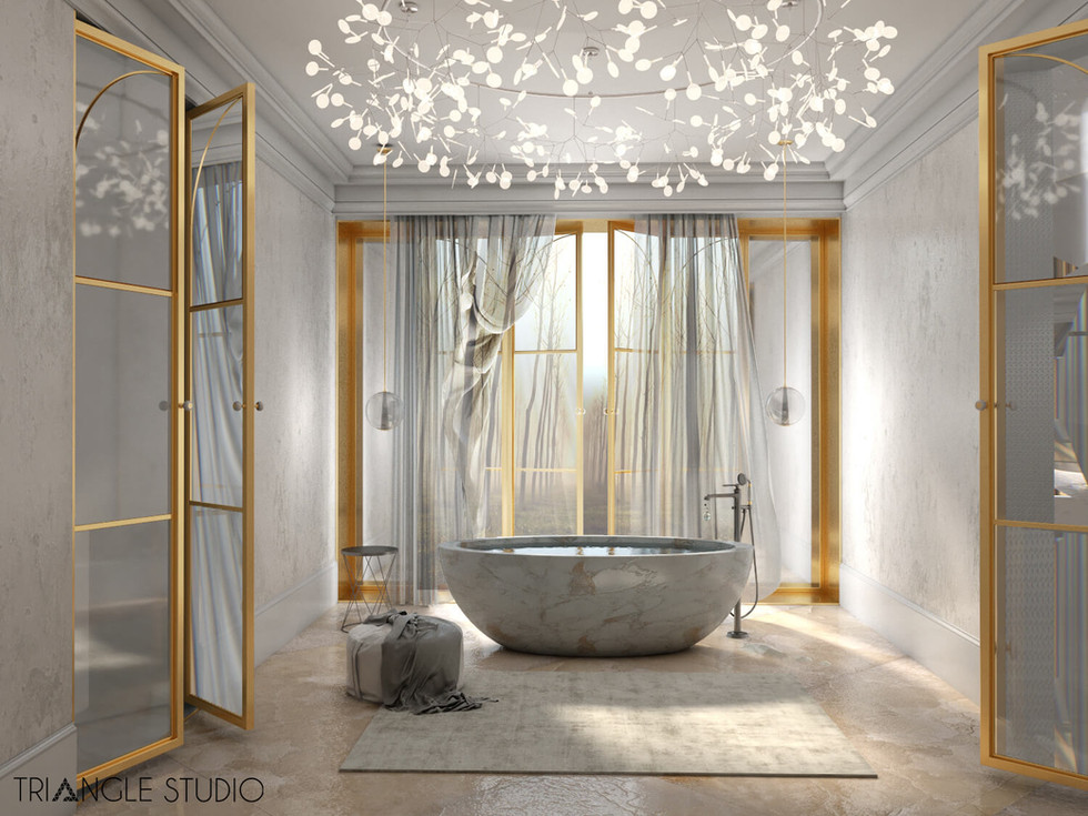 Inspiracja - Ciepły elegancki pokój kąpielowy