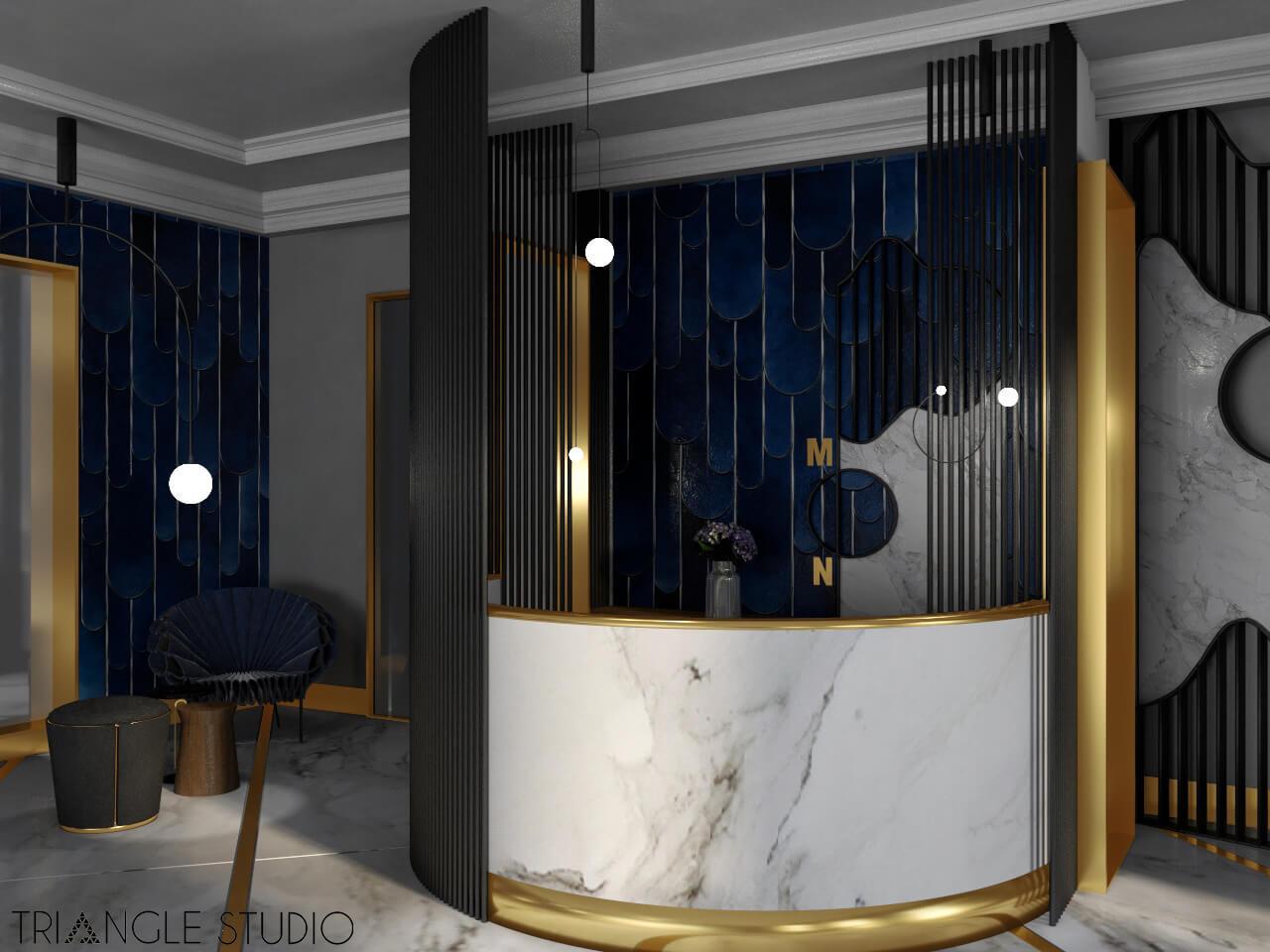 Recepcja hotelowa w stylu glamour.