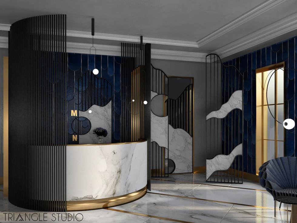 Recepcja hotelowa w stylu glamour