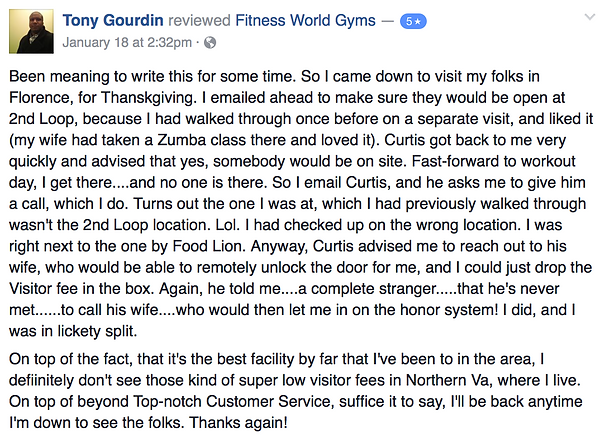 Tony Gourdin's review of Fitness World Gyms