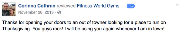 Corinna Cothran's review of Fitness World Gyms