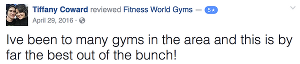 Tiffany Coward's review of Fitness World Gyms