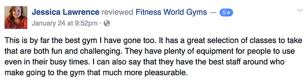 Jessica Lawrence's review of Fitness World Gyms