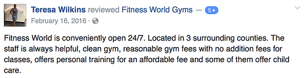 Teresa Wilkins' review of Fitness World Gyms