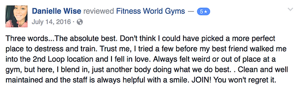 Danielle Wise's review of Fitness World Gyms