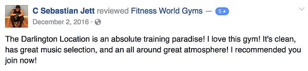 C Sebastion Jett review of Fitness World Gyms