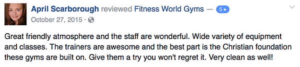 April Scarborough's review of Fitness World Gyms