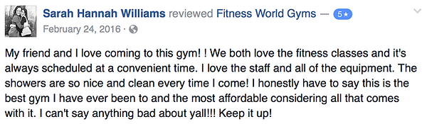Sarah Hannah Williams' review of Fitness World Gyms