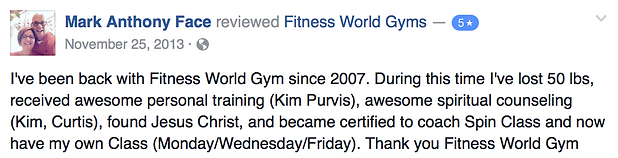 Mark Anthony Face's review of Fitness World Gyms