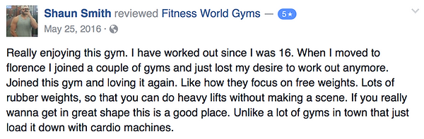 Shaun Smith's review of Fitness World Gyms