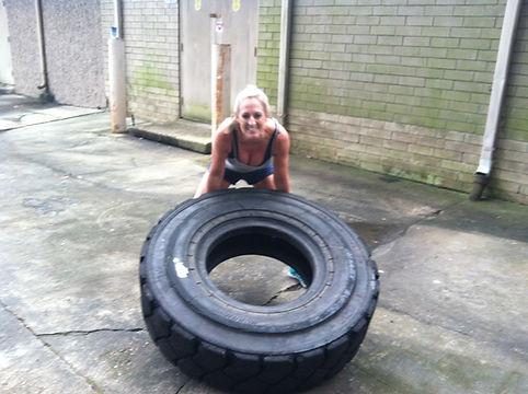 Tonya McGill's tire flipping