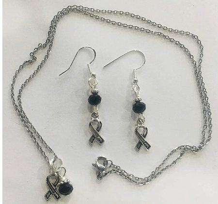 Melanoma Cancer Black Ribbon Awareness Necklace & Earring Set