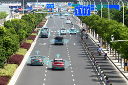Smart car (HUD) , Autonomous self-driving mode vehicle on metro city road iot concept with graphic s