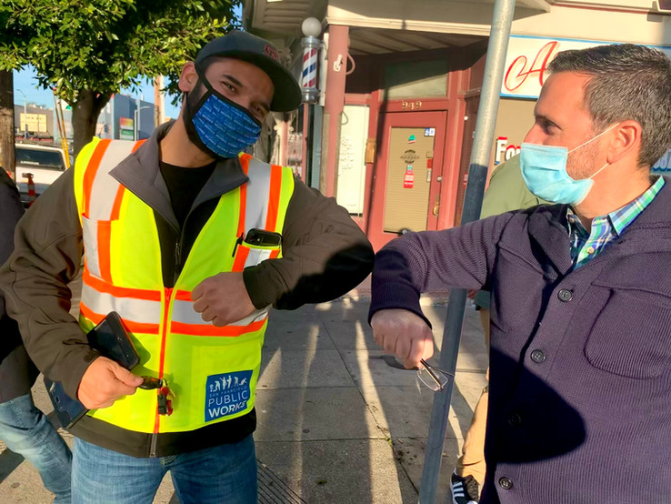 District 11 representative Ahsha Safai greets Muhammad Yasir from our street cleaning crew during the CleanCorridorsSF operation in the Excelsior.