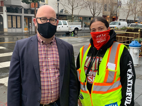 District 8 Supervisor Rafael Madelman joined Public Works at the CleanCorridorsSF operation on Valencia Street and met up with Nicole De La Garza, who oversees the street cleaning crews in the area.