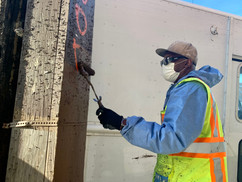 """Robert Fields has worked on our graffiti-abatement crew for a dozen years. He uses paint, brushes, cleanser and scrapers to remove the tags. """"Some are harder to get rid of than others,"""" he said. """"But we get it done."""""""