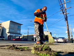 Crews were out in force in the Excelsior, deep cleaning the Geneva Ave. corridor near Mission St.