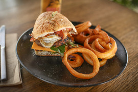 The Jack Burger with onion rings