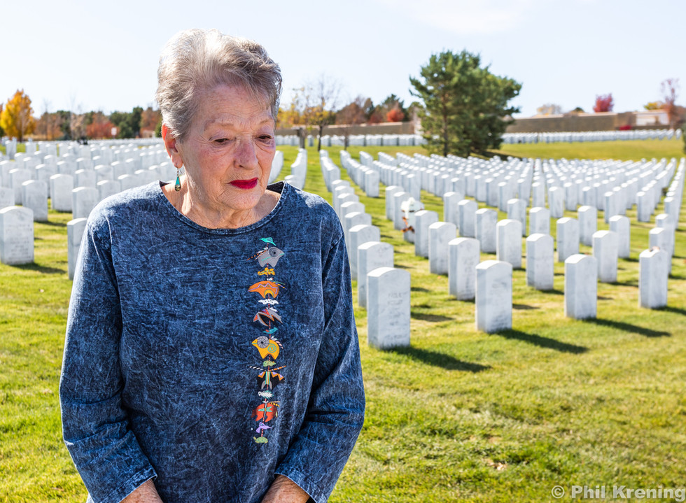 Suzanne at her husbands resting place