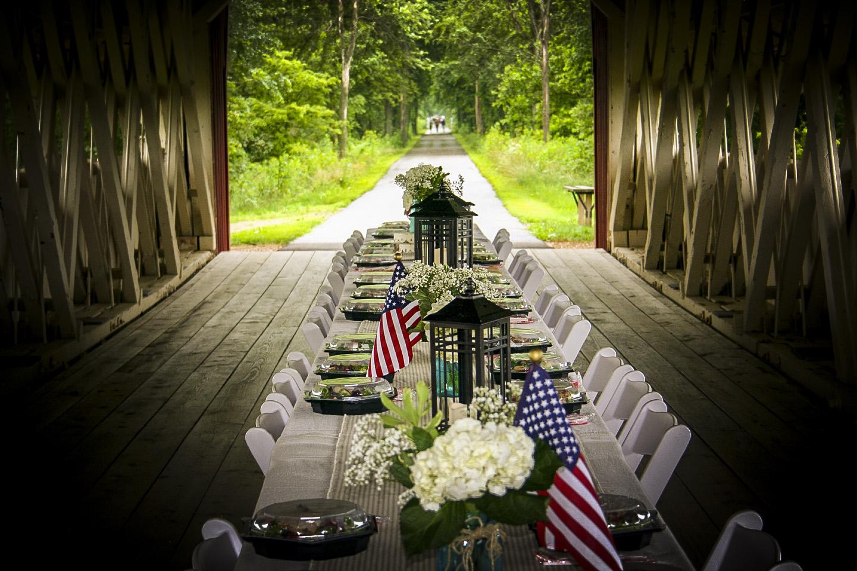 Dine on a covered bridge