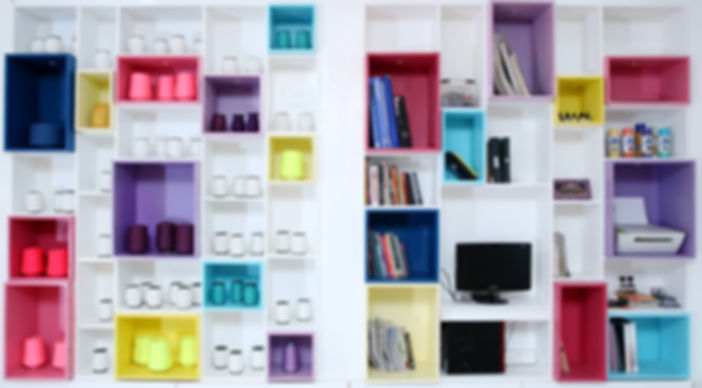 colorful book shelf