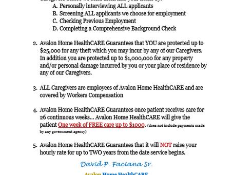 Avalon Home HealthCARE's PEACE OF MIND GUARANTEE