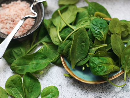 Spinach, Mandarin Mushroom Salad with Ginger Miso Dressing