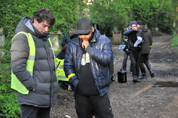 Victor on the set of 'Cain'