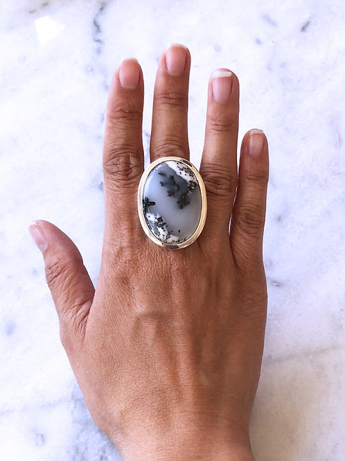 Tree Agate Silver Ring