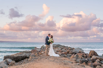 Noosa Rock Wall Wedding Photo