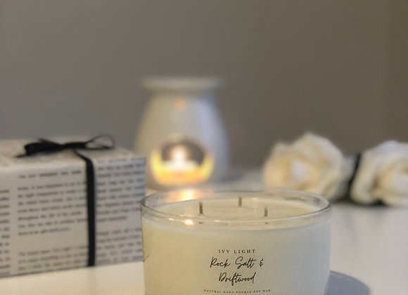 Ivy Light 3 Wick Candle in Rock Salt & Driftwood