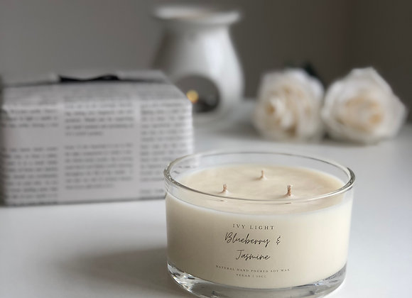 Ivy Light 3 Wick Candle in Blueberry & Jasmine