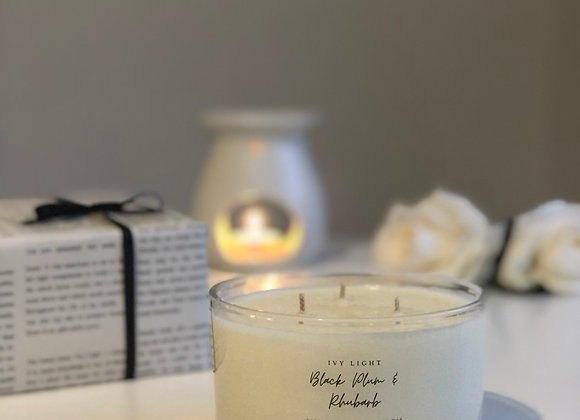 Ivy Light 3 Wick Candle in Black Plum & Rhubarb
